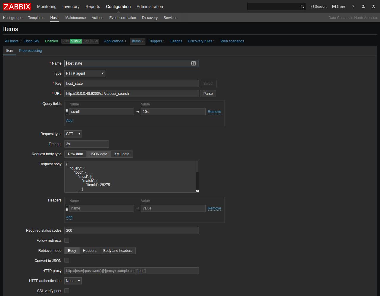 HTTP agent item configuration
