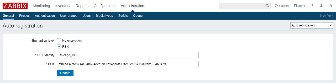 Active registration configuration with visible PSK (blue)
