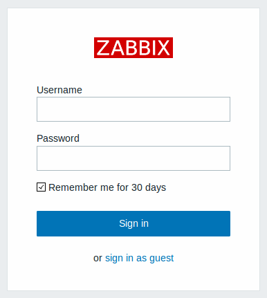 Zabbix login screen