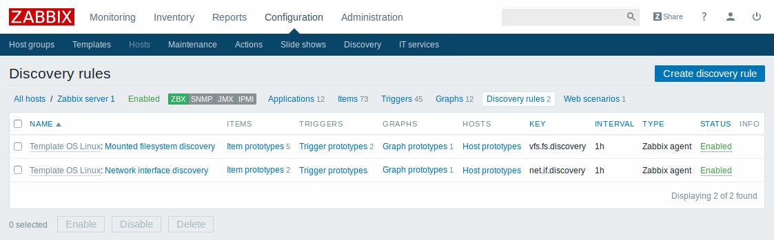 Discovery rule configuration screen