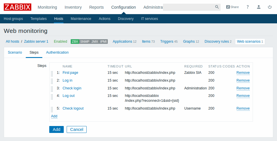 Zabbix Web monitoring configuration