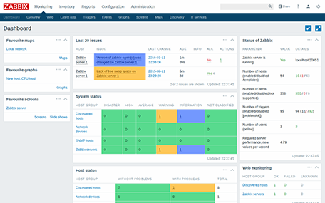 Dashboard is a main screen of Zabbix